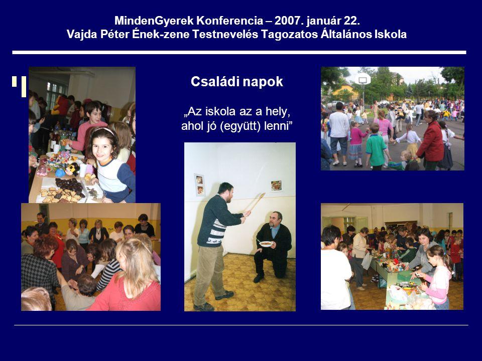 """MindenGyerek Konferencia – 2007. január 22. Vajda Péter Ének-zene Testnevelés Tagozatos Általános Iskola Családi napok """"Az iskola az a hely, ahol jó ("""
