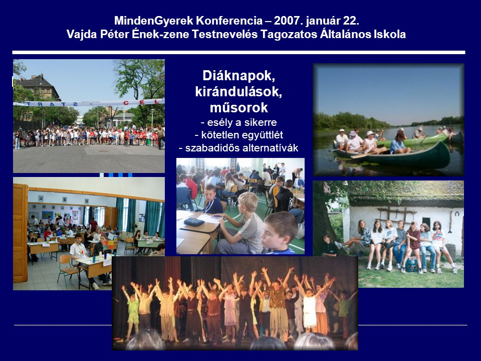 MindenGyerek Konferencia – 2007. január 22. Vajda Péter Ének-zene Testnevelés Tagozatos Általános Iskola Diáknapok, kirándulások, műsorok - esély a si
