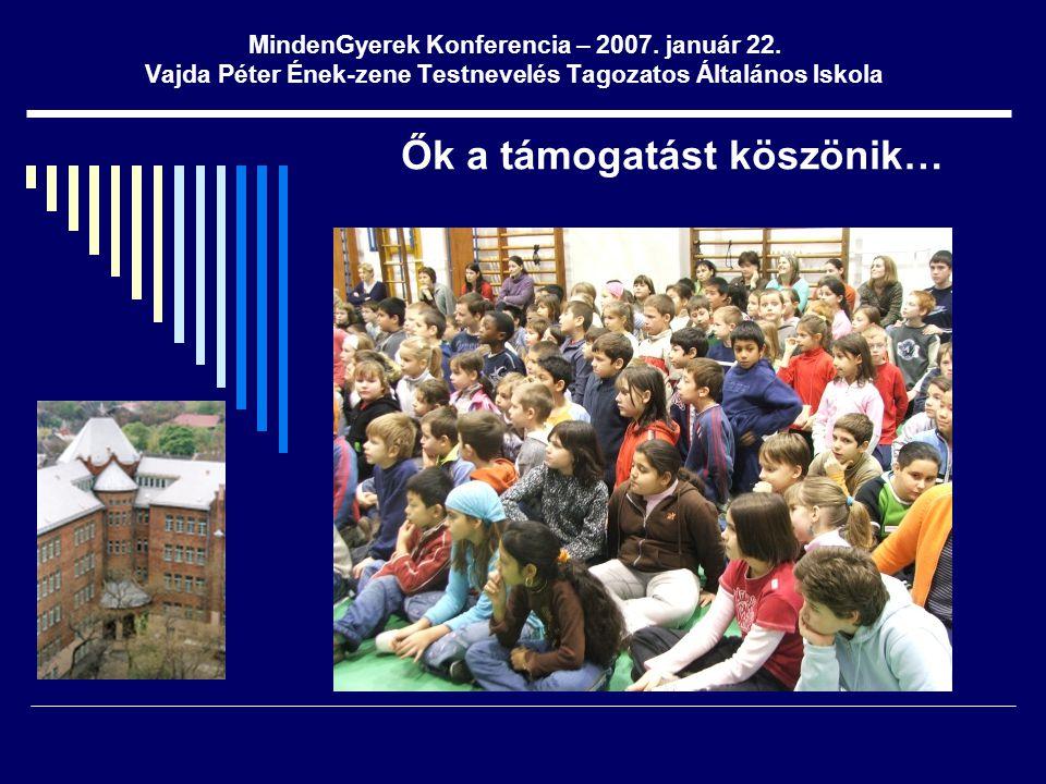 MindenGyerek Konferencia – 2007. január 22. Vajda Péter Ének-zene Testnevelés Tagozatos Általános Iskola Ők a támogatást köszönik…