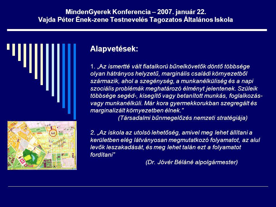"""MindenGyerek Konferencia – 2007. január 22. Vajda Péter Ének-zene Testnevelés Tagozatos Általános Iskola Alapvetések: 1. """"Az ismertté vált fiatalkorú"""