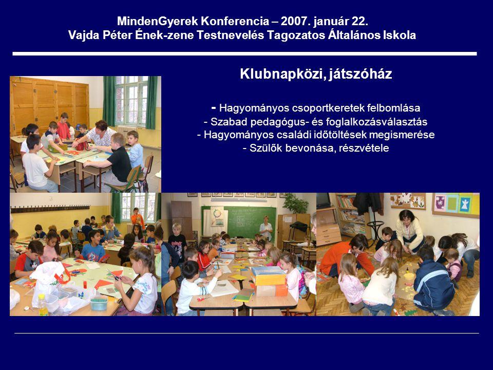 MindenGyerek Konferencia – 2007. január 22. Vajda Péter Ének-zene Testnevelés Tagozatos Általános Iskola Klubnapközi, játszóház - Hagyományos csoportk