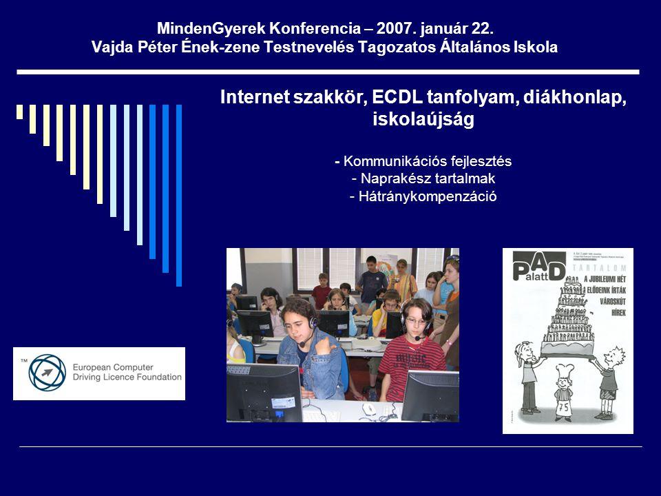 MindenGyerek Konferencia – 2007. január 22. Vajda Péter Ének-zene Testnevelés Tagozatos Általános Iskola Internet szakkör, ECDL tanfolyam, diákhonlap,