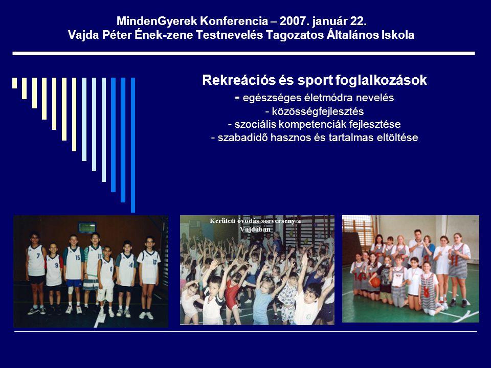MindenGyerek Konferencia – 2007. január 22. Vajda Péter Ének-zene Testnevelés Tagozatos Általános Iskola Rekreációs és sport foglalkozások - egészsége