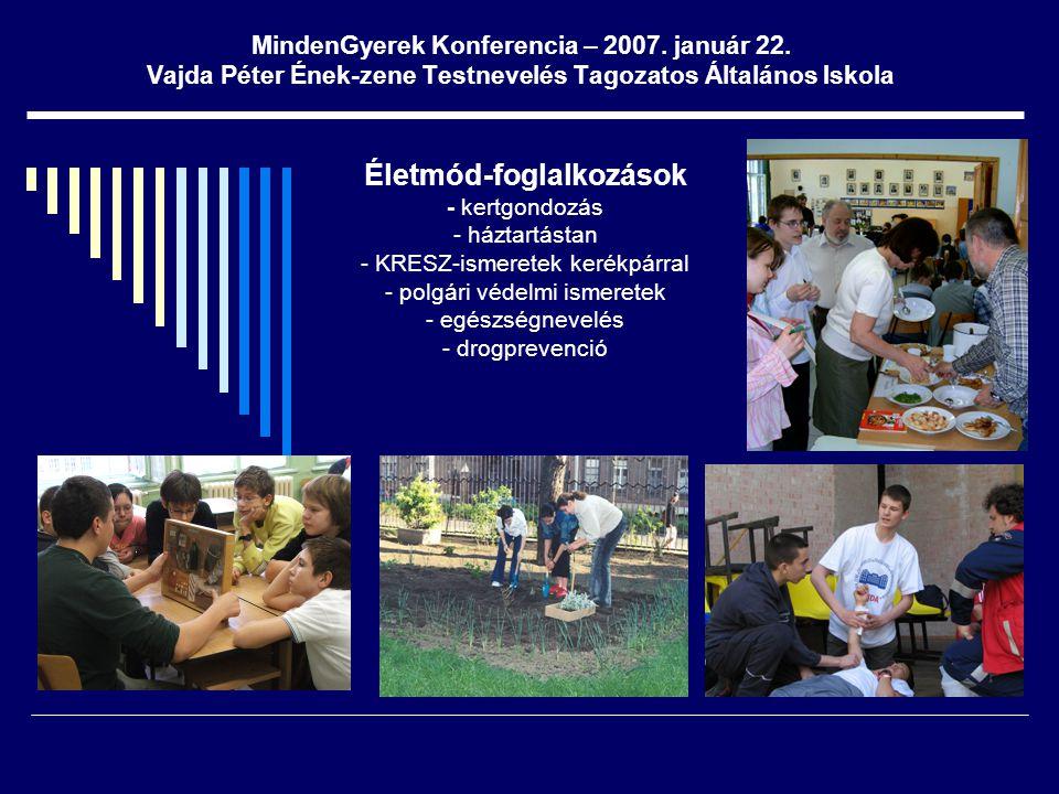 MindenGyerek Konferencia – 2007. január 22. Vajda Péter Ének-zene Testnevelés Tagozatos Általános Iskola Életmód-foglalkozások - kertgondozás - háztar