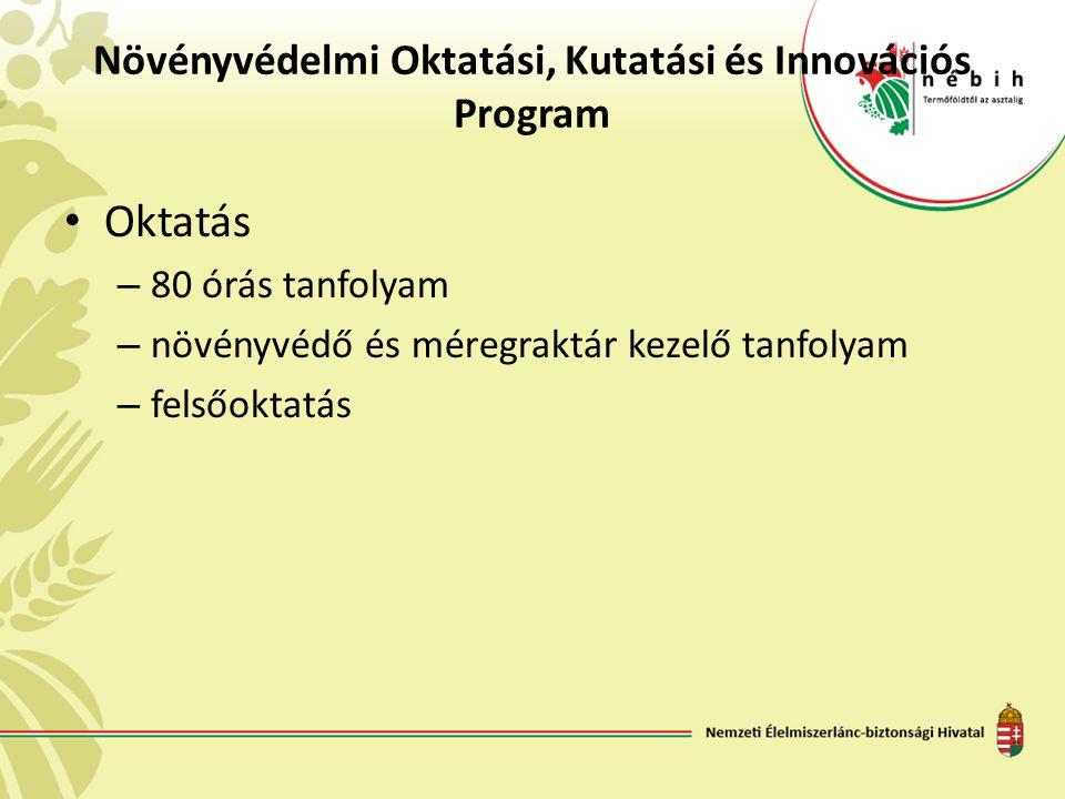 Növényvédelmi Oktatási, Kutatási és Innovációs Program • Oktatás – 80 órás tanfolyam – növényvédő és méregraktár kezelő tanfolyam – felsőoktatás