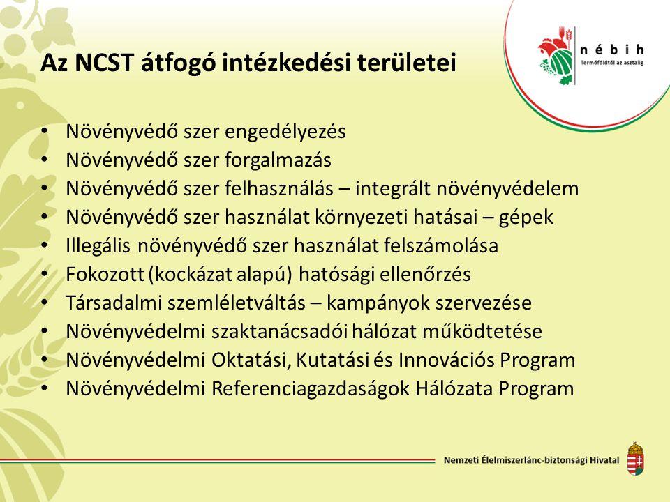 Az NCST átfogó intézkedési területei • Növényvédő szer engedélyezés • Növényvédő szer forgalmazás • Növényvédő szer felhasználás – integrált növényvédelem • Növényvédő szer használat környezeti hatásai – gépek • Illegális növényvédő szer használat felszámolása • Fokozott (kockázat alapú) hatósági ellenőrzés • Társadalmi szemléletváltás – kampányok szervezése • Növényvédelmi szaktanácsadói hálózat működtetése • Növényvédelmi Oktatási, Kutatási és Innovációs Program • Növényvédelmi Referenciagazdaságok Hálózata Program