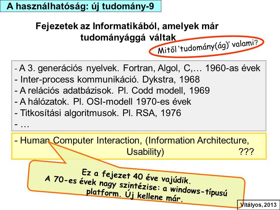 Fejezetek az Informatikából, amelyek már tudományággá váltak - A 3. generációs nyelvek. Fortran, Algol, C,… 1960-as évek - Inter-process kommunikáció.