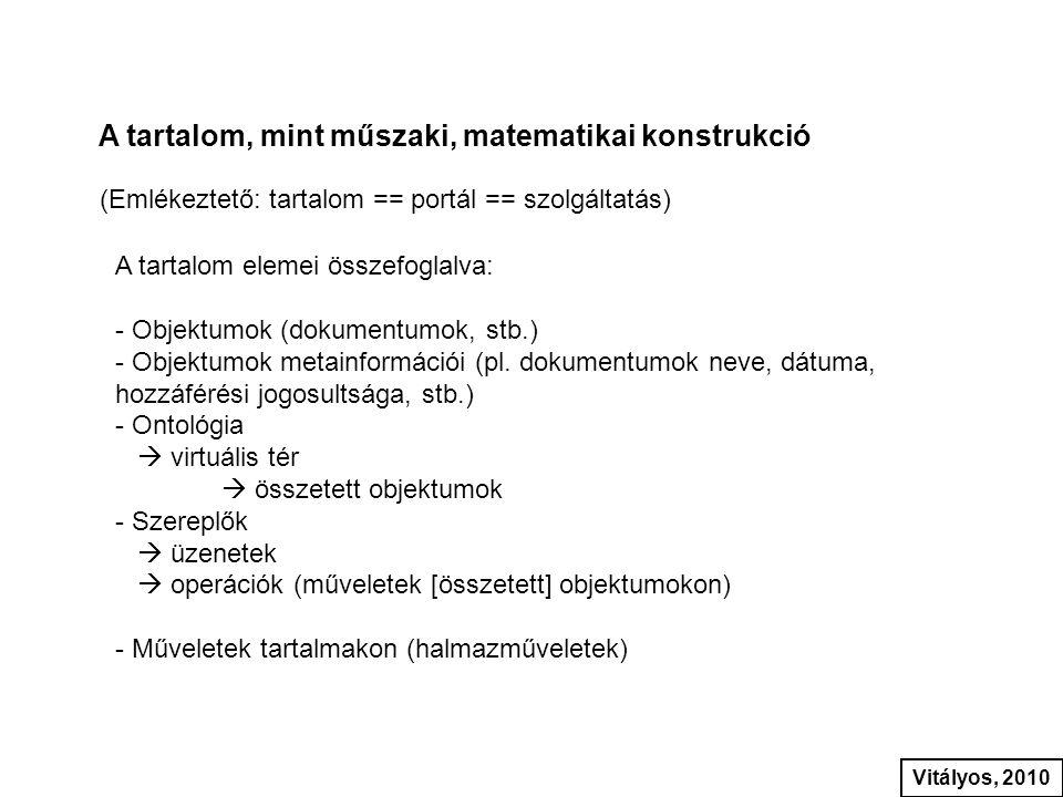 A tartalom, mint műszaki, matematikai konstrukció (Emlékeztető: tartalom == portál == szolgáltatás) A tartalom elemei összefoglalva: - Objektumok (dok