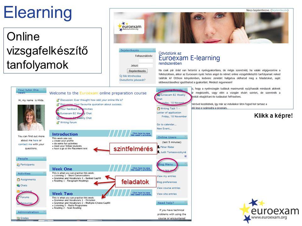 Elearning Klikk a képre! szintfelmérés feladatok Online vizsgafelkészítő tanfolyamok