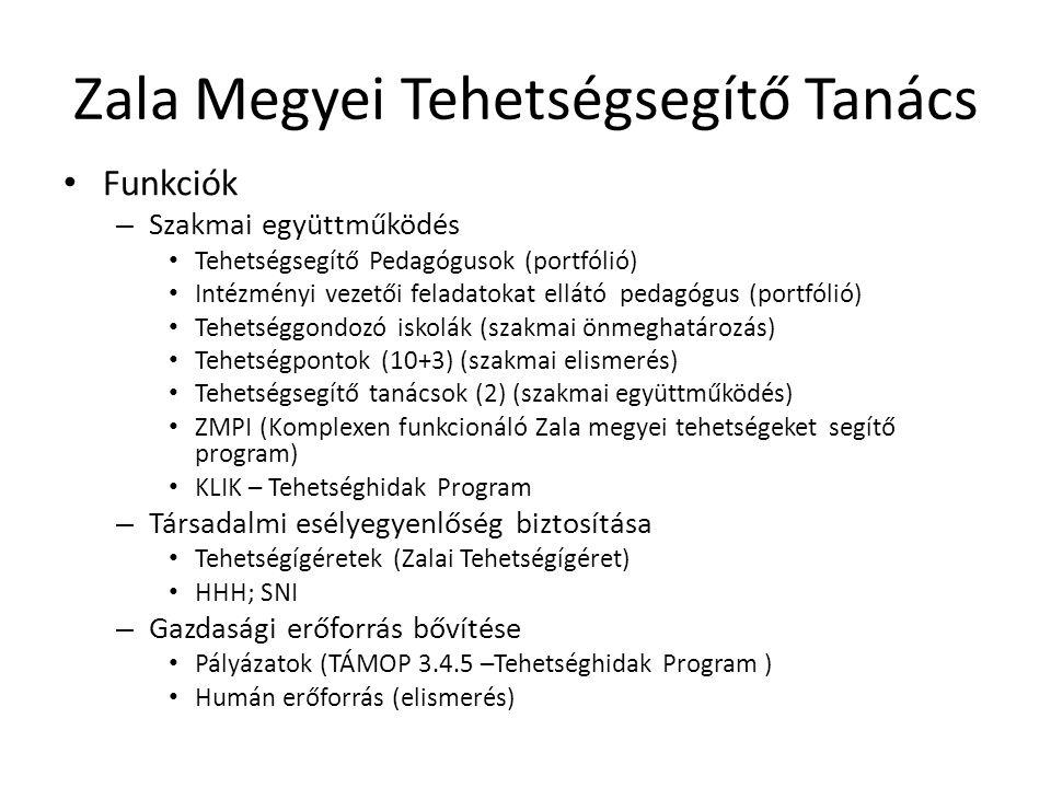 Zala Megyei Tehetségsegítő Tanács • Funkciók – Szakmai együttműködés • Tehetségsegítő Pedagógusok (portfólió) • Intézményi vezetői feladatokat ellátó