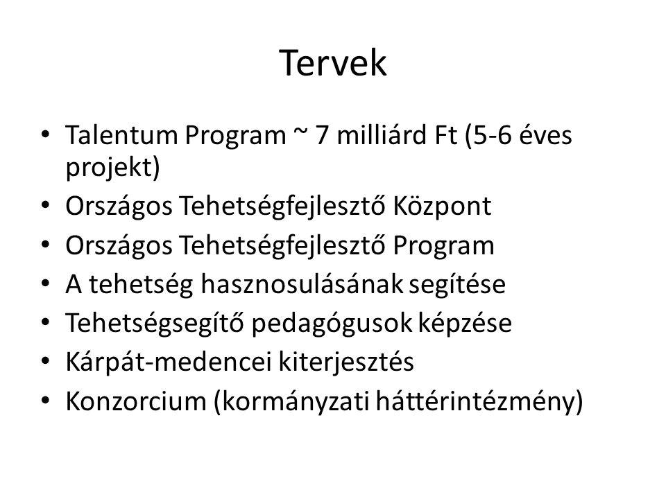 Tervek • Talentum Program ~ 7 milliárd Ft (5-6 éves projekt) • Országos Tehetségfejlesztő Központ • Országos Tehetségfejlesztő Program • A tehetség ha