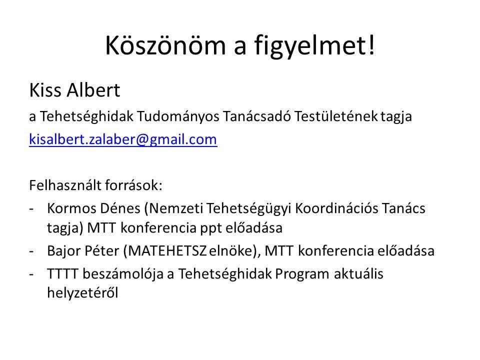 Köszönöm a figyelmet! Kiss Albert a Tehetséghidak Tudományos Tanácsadó Testületének tagja kisalbert.zalaber@gmail.com Felhasznált források: -Kormos Dé