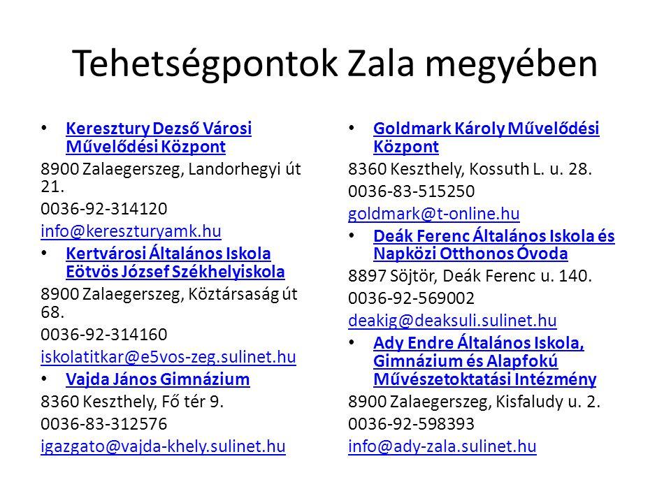 Tehetségpontok Zala megyében • Keresztury Dezső Városi Művelődési Központ Keresztury Dezső Városi Művelődési Központ 8900 Zalaegerszeg, Landorhegyi út