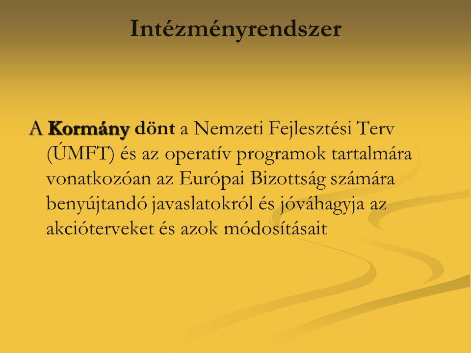 Intézményrendszer A Kormány A Kormány dönt a Nemzeti Fejlesztési Terv (ÚMFT) és az operatív programok tartalmára vonatkozóan az Európai Bizottság szám