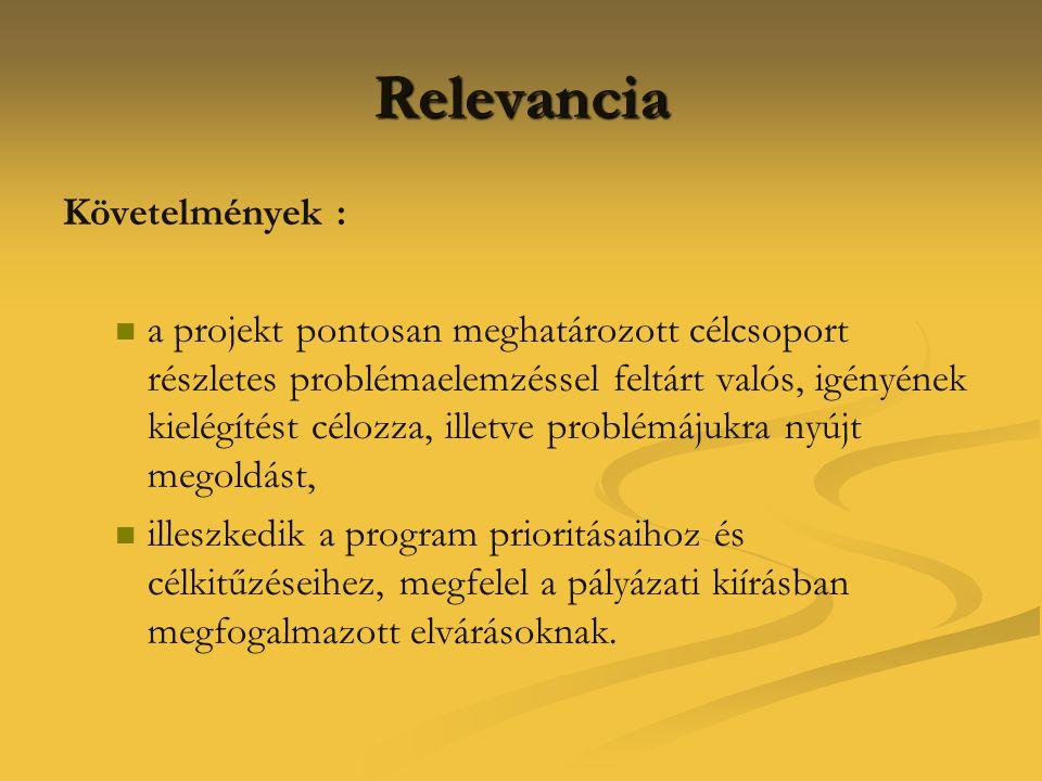 Relevancia Követelmények :   a projekt pontosan meghatározott célcsoport részletes problémaelemzéssel feltárt valós, igényének kielégítést célozza,