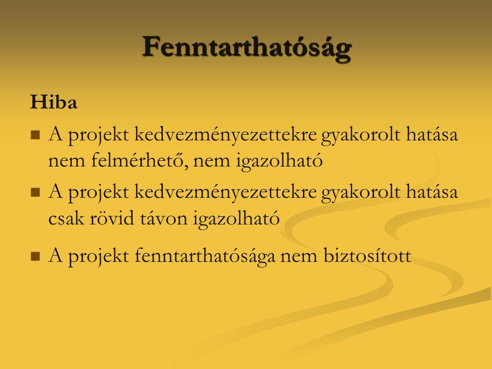 Fenntarthatóság Hiba   A projekt kedvezményezettekre gyakorolt hatása nem felmérhető, nem igazolható   A projekt kedvezményezettekre gyakorolt hat