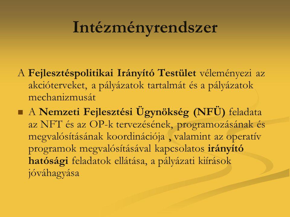 Intézményrendszer A Fejlesztéspolitikai Irányító Testület véleményezi az akcióterveket, a pályázatok tartalmát és a pályázatok mechanizmusát ,  A Ne