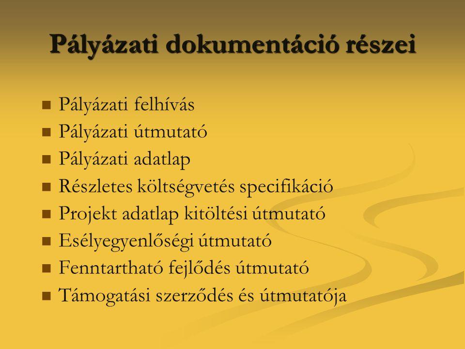 Pályázati dokumentáció részei   Pályázati felhívás   Pályázati útmutató   Pályázati adatlap   Részletes költségvetés specifikáció   Projekt