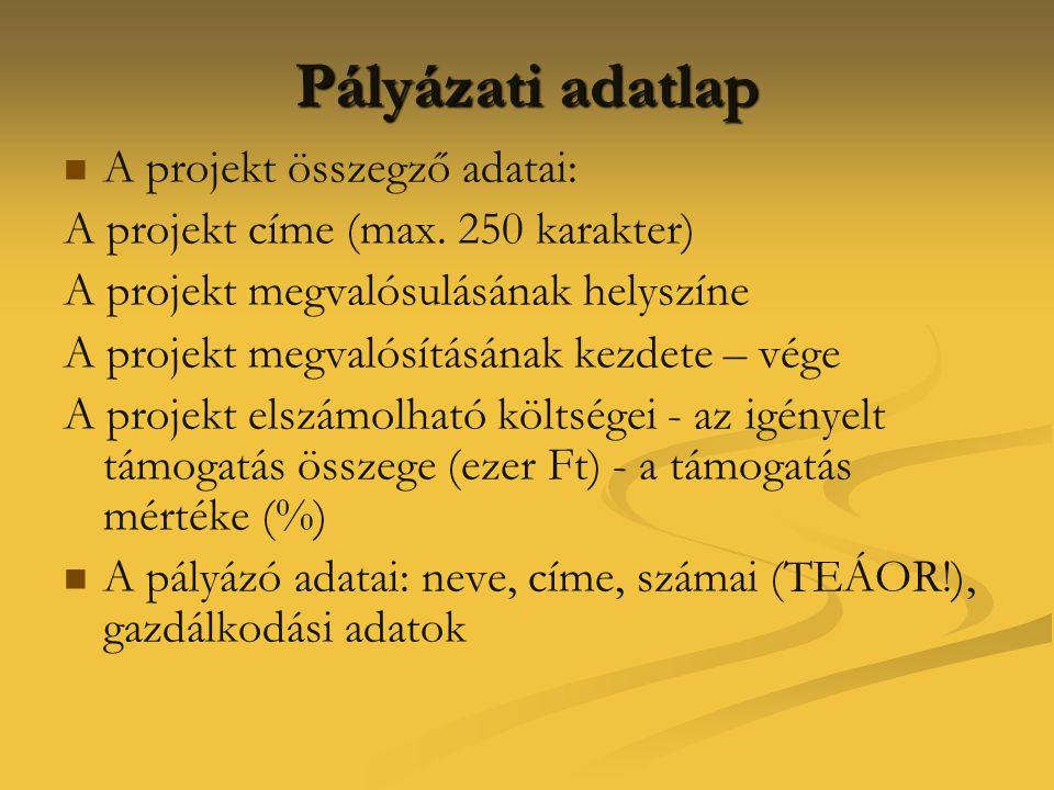 Pályázati adatlap   A projekt összegző adatai: A projekt címe (max. 250 karakter) A projekt megvalósulásának helyszíne A projekt megvalósításának ke