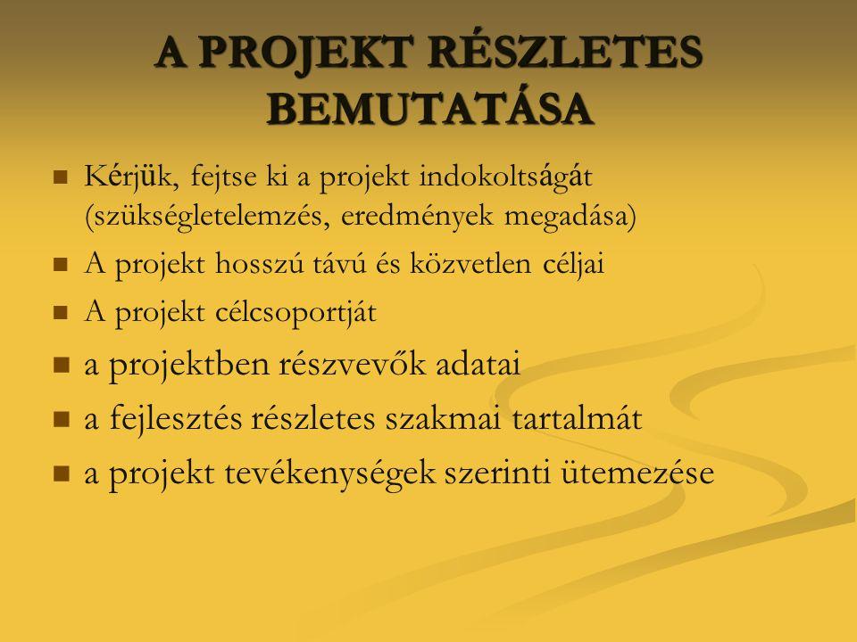 A PROJEKT RÉSZLETES BEMUTATÁSA   K é rj ü k, fejtse ki a projekt indokolts á g á t (szükségletelemzés, eredmények megadása)   A projekt hosszú táv