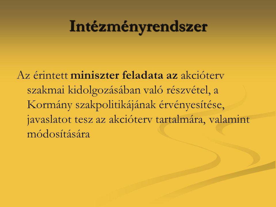 Intézményrendszer Az érintett miniszter feladata az akcióterv szakmai kidolgozásában való részvétel, a Kormány szakpolitikájának érvényesítése, javasl