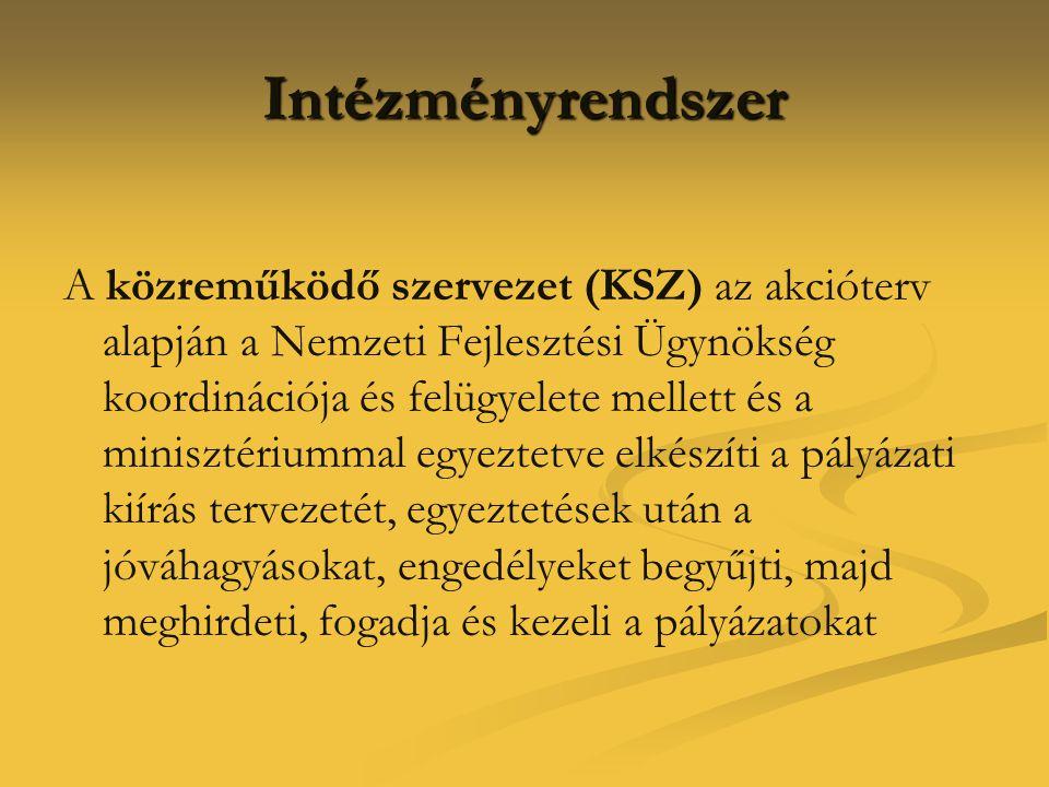 Intézményrendszer A közreműködő szervezet (KSZ) az akcióterv alapján a Nemzeti Fejlesztési Ügynökség koordinációja és felügyelete mellett és a miniszt