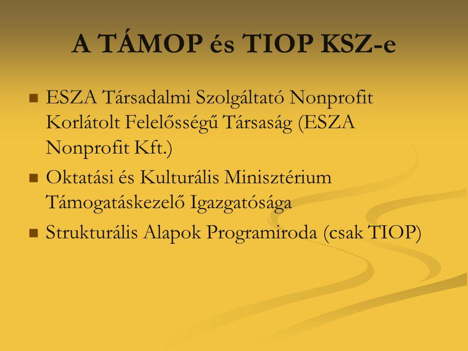 A TÁMOP és TIOP KSZ-e   ESZA Társadalmi Szolgáltató Nonprofit Korlátolt Felelősségű Társaság (ESZA Nonprofit Kft.)   Oktatási és Kulturális Minisz