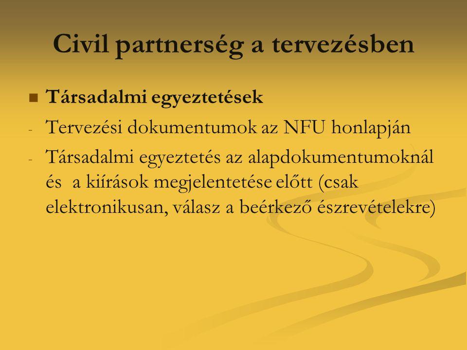 Civil partnerség a tervezésben   Társadalmi egyeztetések - - Tervezési dokumentumok az NFU honlapján - - Társadalmi egyeztetés az alapdokumentumokná