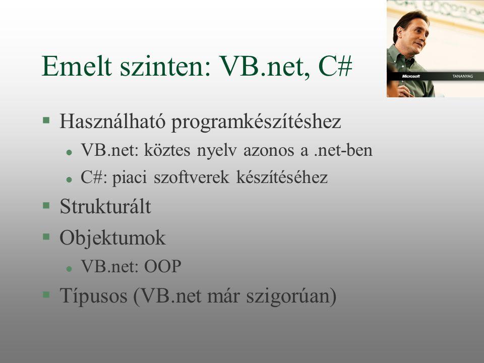 Emelt szinten: VB.net, C# §Használható programkészítéshez l VB.net: köztes nyelv azonos a.net-ben l C#: piaci szoftverek készítéséhez §Strukturált §Ob