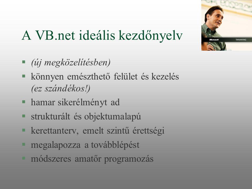 A VB.net ideális kezdőnyelv §(új megközelítésben) §könnyen emészthető felület és kezelés (ez szándékos!) §hamar sikerélményt ad §strukturált és objekt
