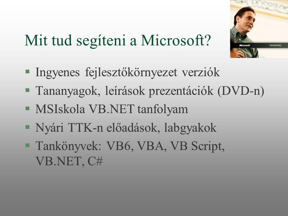 Mit tud segíteni a Microsoft? §Ingyenes fejlesztőkörnyezet verziók §Tananyagok, leírások prezentációk (DVD-n) §MSIskola VB.NET tanfolyam §Nyári TTK-n