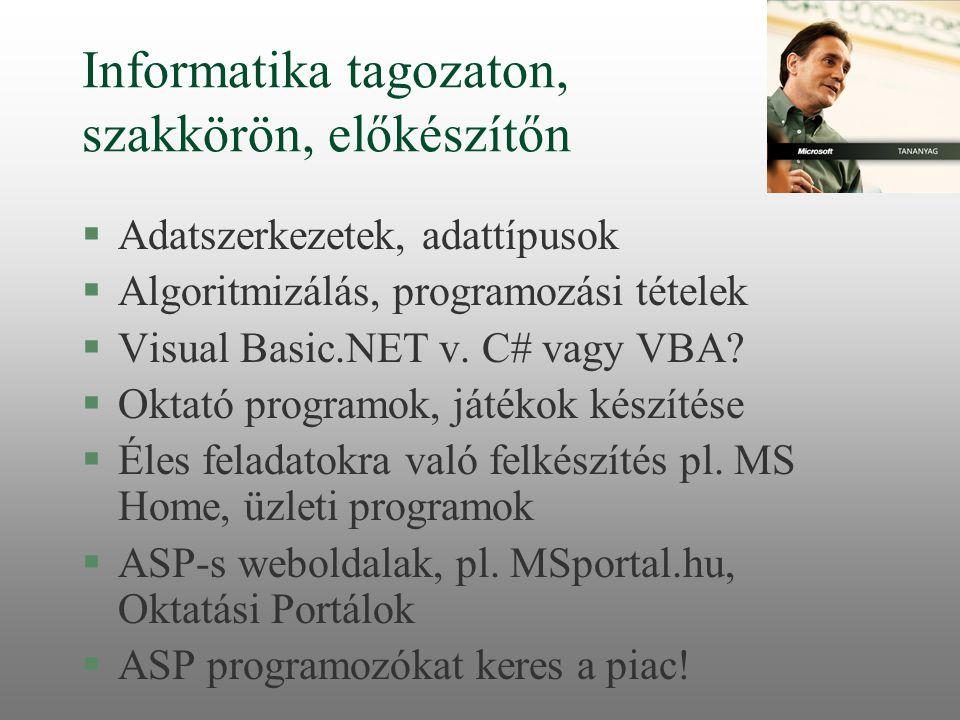 Informatika tagozaton, szakkörön, előkészítőn §Adatszerkezetek, adattípusok §Algoritmizálás, programozási tételek §Visual Basic.NET v. C# vagy VBA? §O