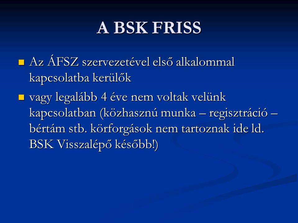 A BSK FRISS  Az ÁFSZ szervezetével első alkalommal kapcsolatba kerülők  vagy legalább 4 éve nem voltak velünk kapcsolatban (közhasznú munka – regisztráció – bértám stb.
