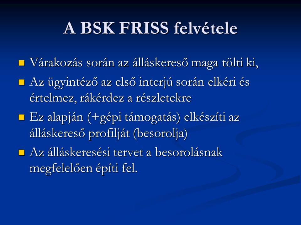A BSK FRISS felvétele  Várakozás során az álláskereső maga tölti ki,  Az ügyintéző az első interjú során elkéri és értelmez, rákérdez a részletekre  Ez alapján (+gépi támogatás) elkészíti az álláskereső profilját (besorolja)  Az álláskeresési tervet a besorolásnak megfelelően építi fel.
