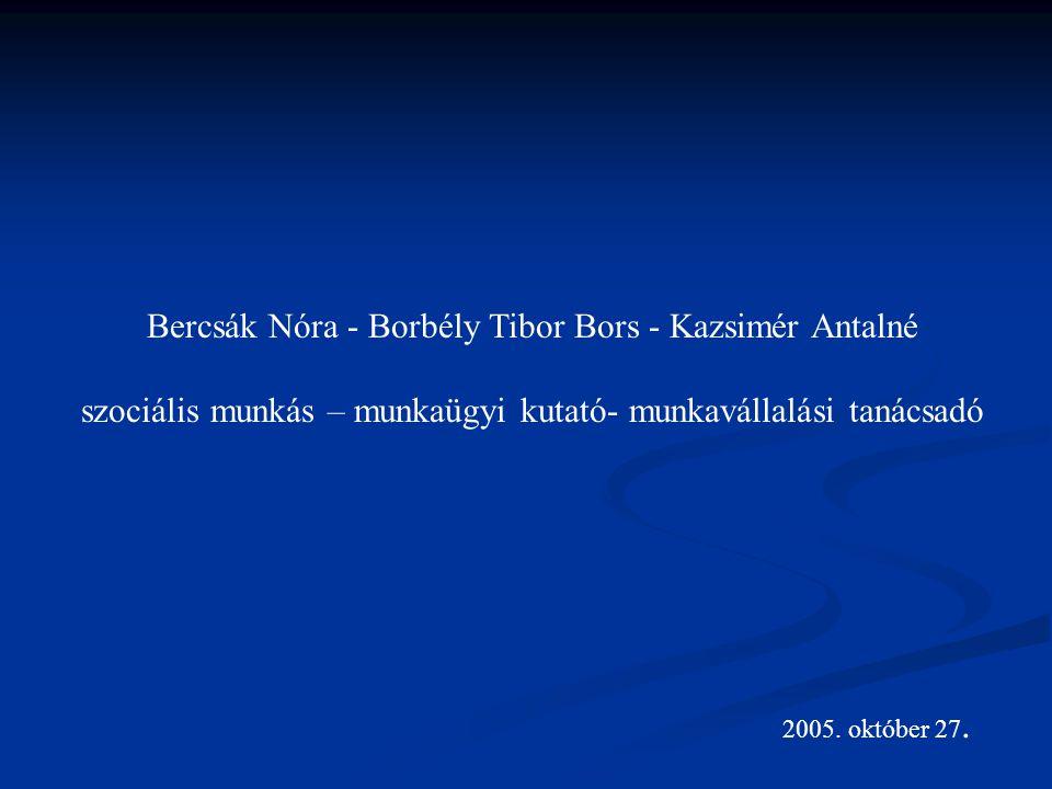 Bercsák Nóra - Borbély Tibor Bors - Kazsimér Antalné szociális munkás – munkaügyi kutató- munkavállalási tanácsadó 2005.