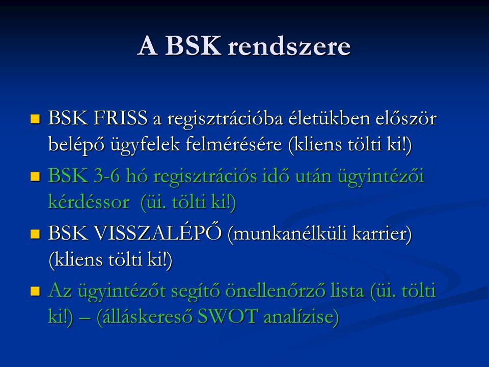 A BSK rendszere  BSK FRISS a regisztrációba életükben először belépő ügyfelek felmérésére (kliens tölti ki!)  BSK 3-6 hó regisztrációs idő után ügyintézői kérdéssor (üi.