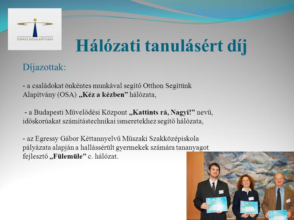 """Hálózati tanulásért díj Díjazottak: - a családokat önkéntes munkával segítő Otthon Segítünk Alapítvány (OSA) """"Kéz a kézben"""" hálózata, - a Budapesti Mű"""