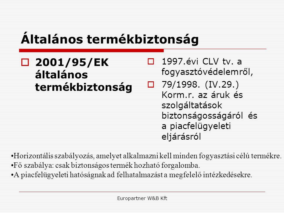 Europartner W&B Kft Általános termékbiztonság  2001/95/EK általános termékbiztonság  1997.évi CLV tv. a fogyasztóvédelemről,  79/1998. (IV.29.) Kor