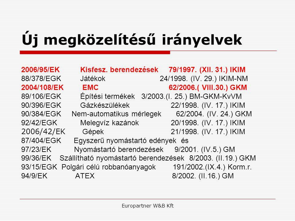 Europartner W&B Kft Új megközelítésű irányelvek 2006/95/EKKisfesz. berendezések 79/1997. (XII. 31.) IKIM 88/378/EGK Játékok 24/1998. (IV. 29.) IKIM-NM
