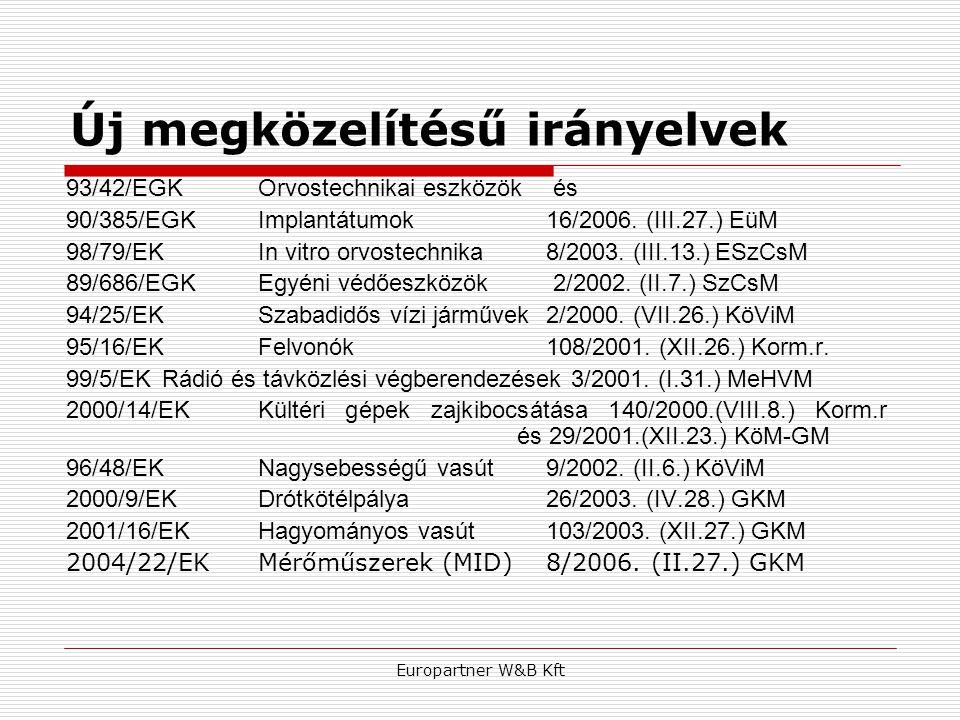Europartner W&B Kft Új megközelítésű irányelvek 93/42/EGKOrvostechnikai eszközök és 90/385/EGKImplantátumok16/2006. (III.27.) EüM 98/79/EKIn vitro orv