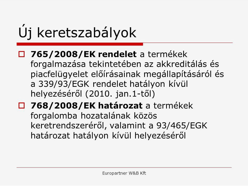 Europartner W&B Kft Új keretszabályok  765/2008/EK rendelet a termékek forgalmazása tekintetében az akkreditálás és piacfelügyelet előírásainak megál
