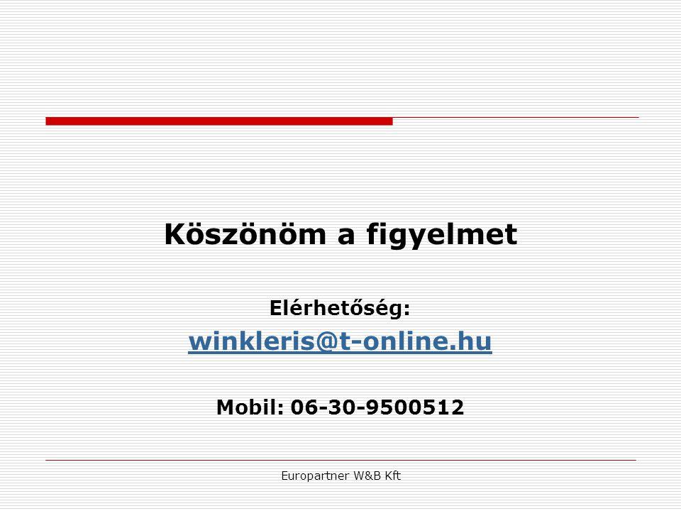 Europartner W&B Kft Köszönöm a figyelmet Elérhetőség: winkleris@t-online.hu Mobil: 06-30-9500512