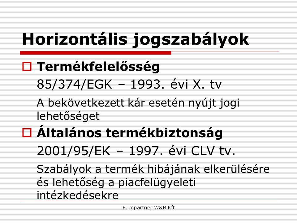 Europartner W&B Kft Horizontális jogszabályok  Termékfelelősség 85/374/EGK – 1993. évi X. tv A bekövetkezett kár esetén nyújt jogi lehetőséget  Álta