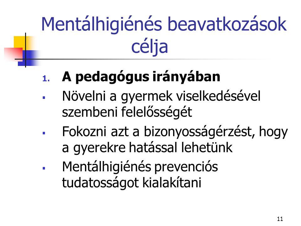 11 Mentálhigiénés beavatkozások célja 1. A pedagógus irányában  Növelni a gyermek viselkedésével szembeni felelősségét  Fokozni azt a bizonyosságérz