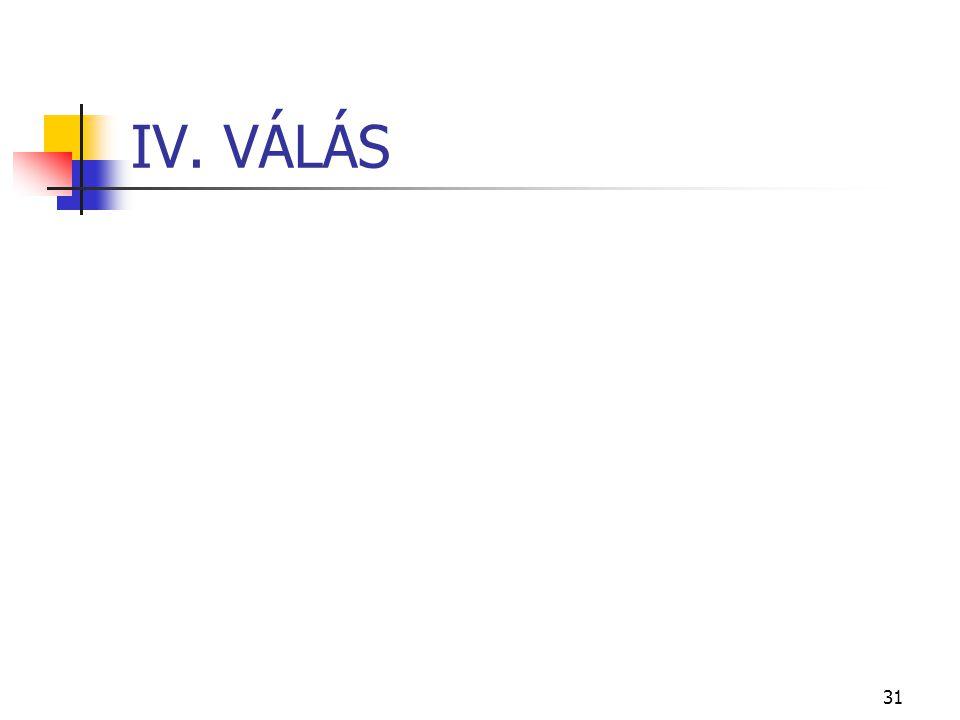 31 IV. VÁLÁS