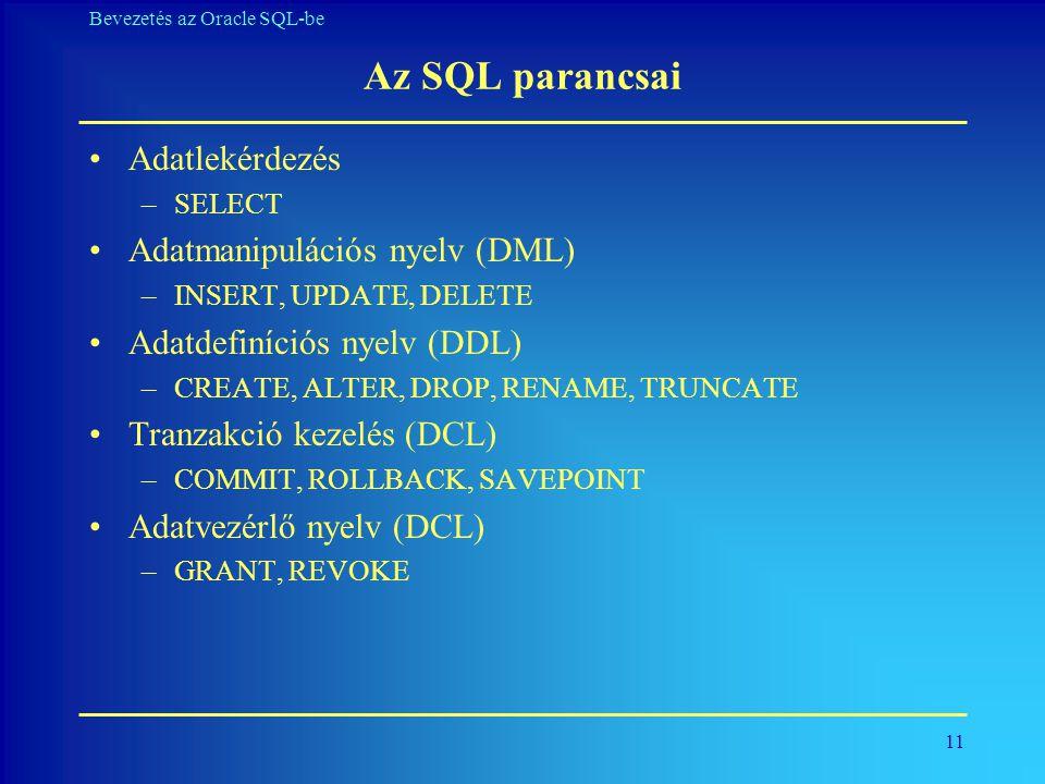 11 Bevezetés az Oracle SQL-be Az SQL parancsai •Adatlekérdezés –SELECT •Adatmanipulációs nyelv (DML) –INSERT, UPDATE, DELETE •Adatdefiníciós nyelv (DD