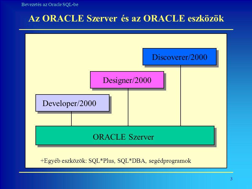 14 Bevezetés az Oracle SQL-be Oszlopok kiválasztása SQL> SELECT a_kod, a_nev, beosztas, belepes 2 FROM alkalmazott; A_KOD A_NEV BEOSZTAS BELEPES ----- --------------- ---------------- --------- 1234 KOVACS ELADO 10-DEC-86 1235 MOLNAR SZERELO 08-FEB-71 1236 CSIKOS ELADO 12-MAR-85 1237 TOTH VIZSGABIZTOS 22-APR-80 1238 NEMETH TELEPHELYVEZETO 28-NOV-83 1239 SZABO IGAZGATO 01-MAY-77 1240 BALOGH SZERELO 09-JUN-83 1244 KIRALY VIZSGABIZTOS 04-AUG-80 1245 HERCEG ELADO 12-NOV-84 1246 BOGNAR ELADO 08-OCT-79 1247 HALASZ SZERELO 23-MAY-81 1248 HORVAT TELEPHELYVEZETO 09-DEC-81 1249 KISS ELADO 23-DEC-71