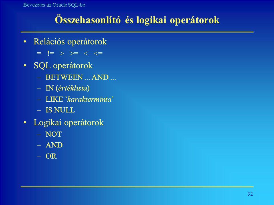 32 Bevezetés az Oracle SQL-be Összehasonlító és logikai operátorok •Relációs operátorok = != > >= < <= •SQL operátorok –BETWEEN... AND... –IN (értékli