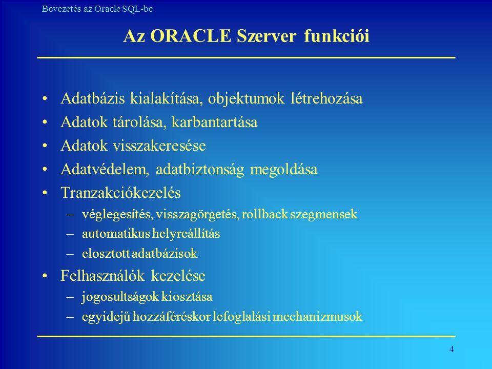 45 Bevezetés az Oracle SQL-be Numerikus függvények A numerikus függvények argumentuma és visszaadott értéke is numerikus.
