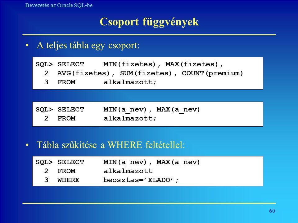 60 Bevezetés az Oracle SQL-be Csoport függvények •A teljes tábla egy csoport: •Tábla szűkítése a WHERE feltétellel: SQL> SELECT MIN(fizetes), MAX(fize